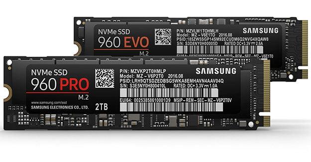 Samsung 960 Pro 960 EVO SSDs m2