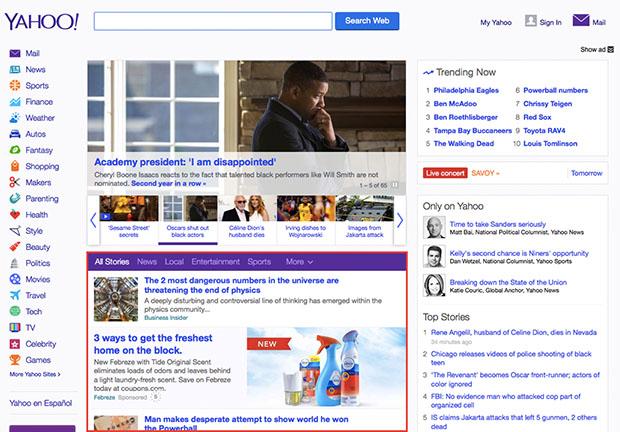 Yahoo Homepage News Feed