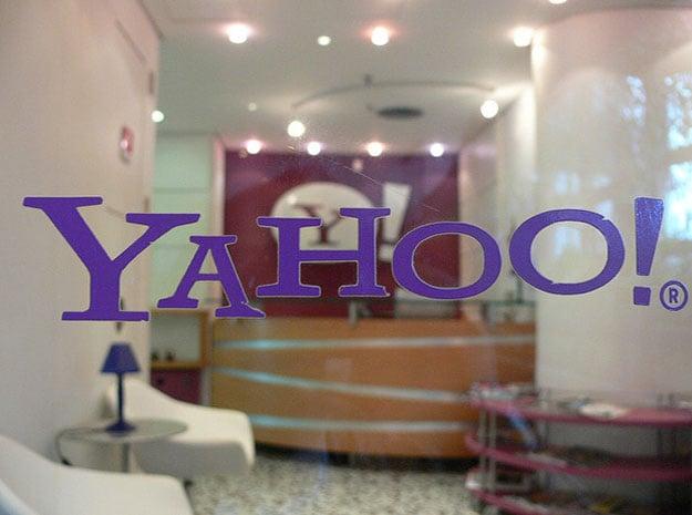 yahoo logo on glass