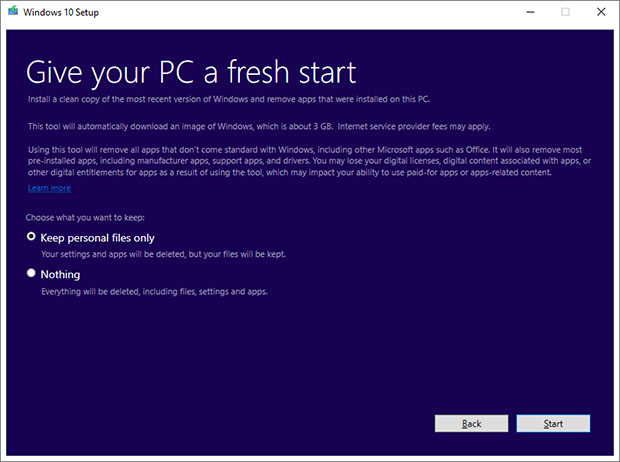 Windows 10 Reset Tool