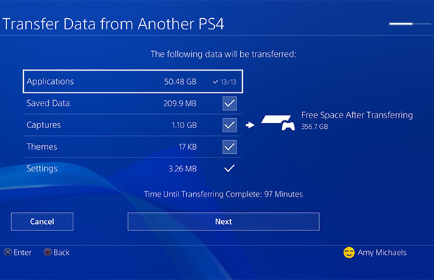 Select Data for PS4 to PS4 Pro Transfer