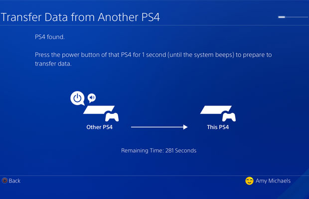 PS4 Pro 4 Data Transfer