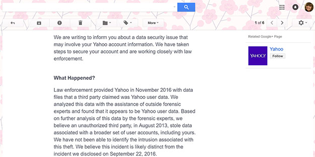 Yahoo Breach Email Notification