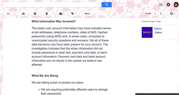 Yahoo breach email details