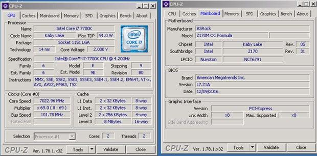CPUZ 7700K