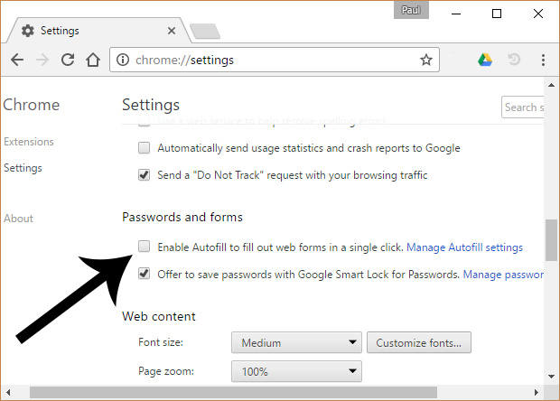 Chrome Autofill Setting