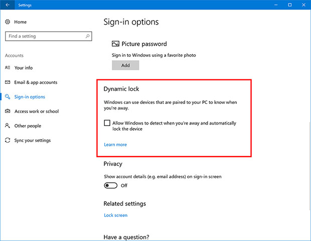 Windows 10 Dynamic Lock Feature