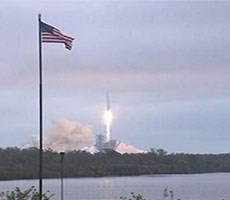SpaceX Falcon 9 Rocket Lifts Off From NASA's Historic Launch Complex 39A And Sticks Return Landing