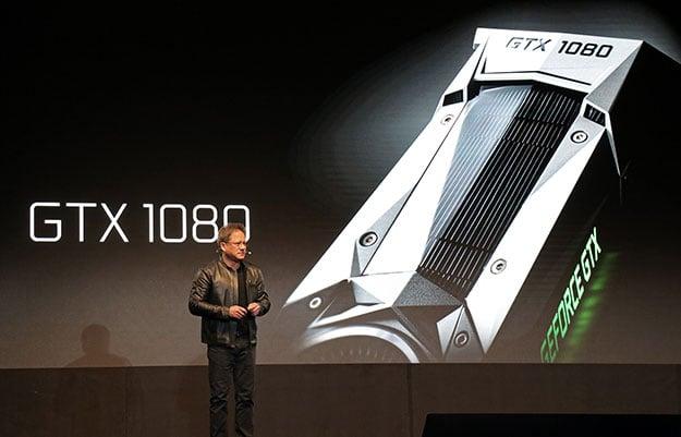 NVIDIA Jen Hsun Huang With GeForce GTX 1080 image