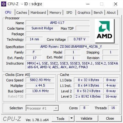 Ryzen 7 1800X CPU-Z