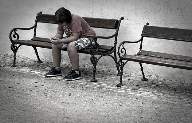 kid on bench