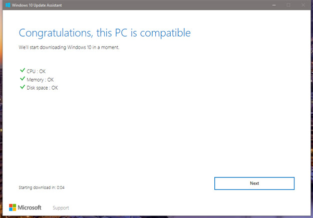 Windows 10 Creators Update System Compatibility Screen