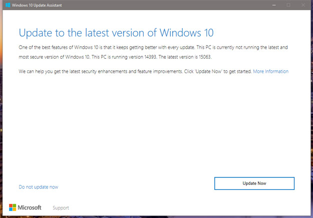 Windows 10 Creators Update Update Screen