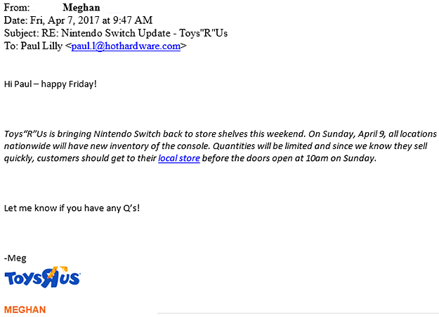 Toys R Us Nintendo Switch Email