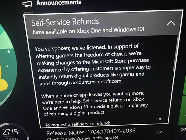 Xbox One Refunds