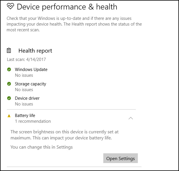 Device Performance and Health