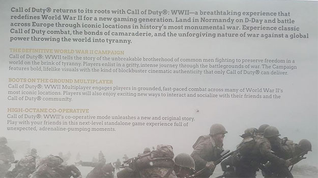 call of duty wwii packaging description