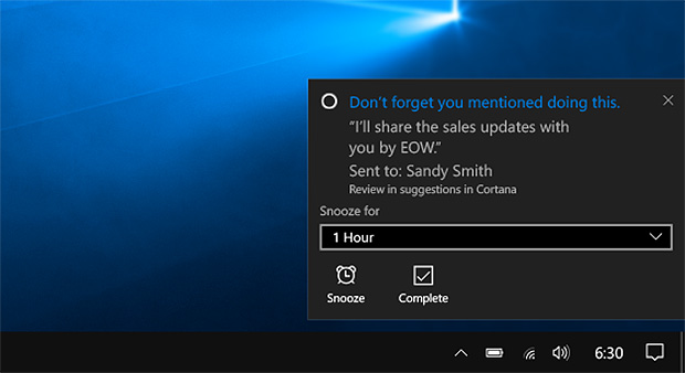 cortana email reminder