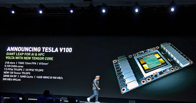 nvidia volta spec on stage at GTC 2