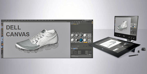 Dell Canvas Designing Nike Shoe stock shot