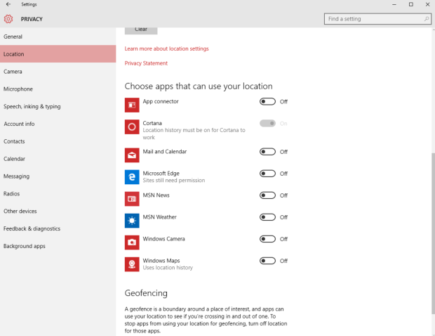 Windows 10 Privacy Options Location Settings