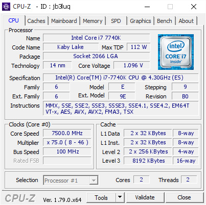 Intel Core i7-7740K CPU-Z