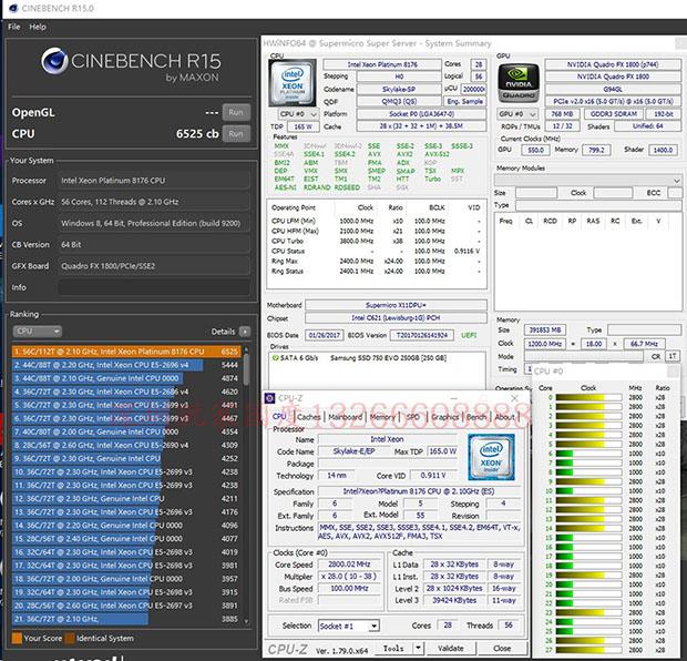 Intel Xeon Platinum 8176 Cinebench R15 Benchmark