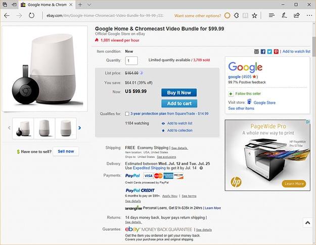 Google Home and Chromecast Bundle on eBay