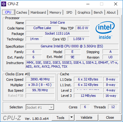 Intel Coffee Lake CPU Z