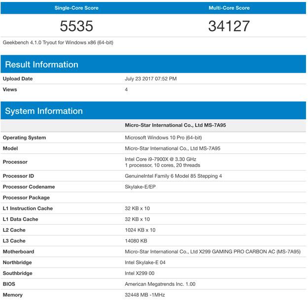 7900X geekbench