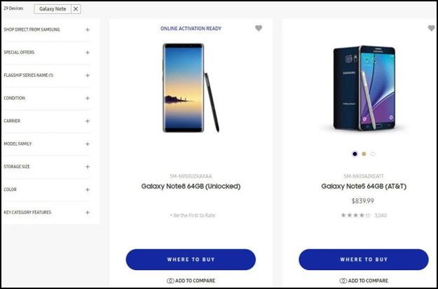 Galaxy Note 8 Listing