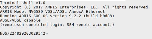 Arris NVG589 Modem Vulnerability