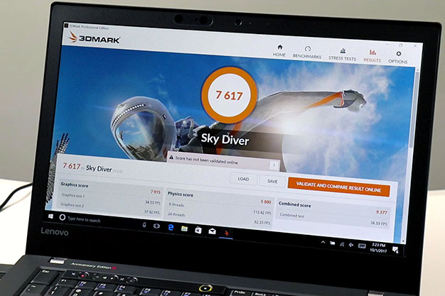 lenovo thinkpad 25 3dmark skydiver benchmark results