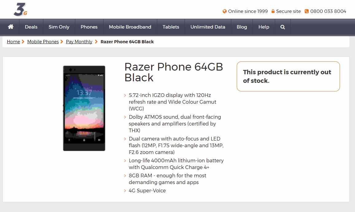 Razer Phone Specs Leak Confirms 8GB RAM And 5.72-inch 120Hz IGZO Display