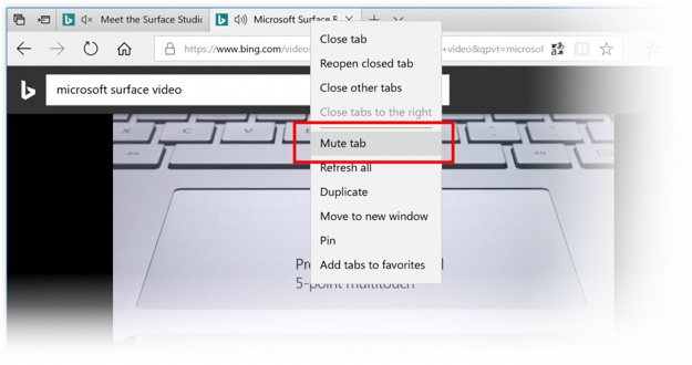 mute tab microsoft edge