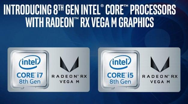 Intel 8th Gen with Radeon RX Vega branding badges
