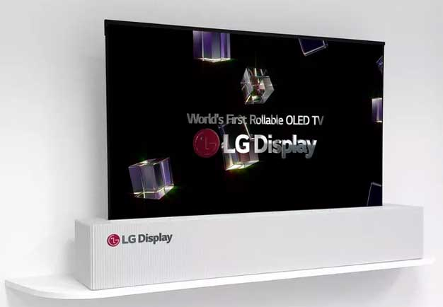 lg display 39 s stunning 65 inch oled 4k tv rolls up like a. Black Bedroom Furniture Sets. Home Design Ideas