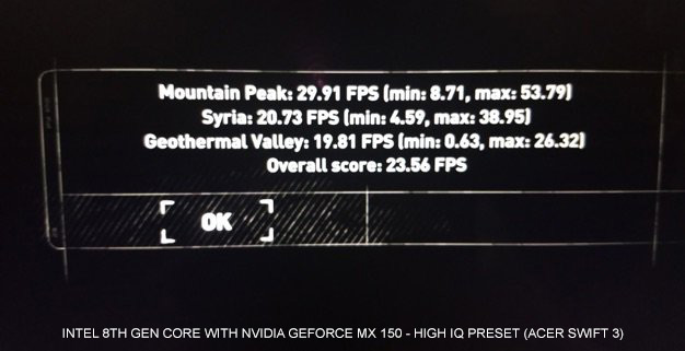 GeForce MX150 with 8th Gen DX12 High IQ2