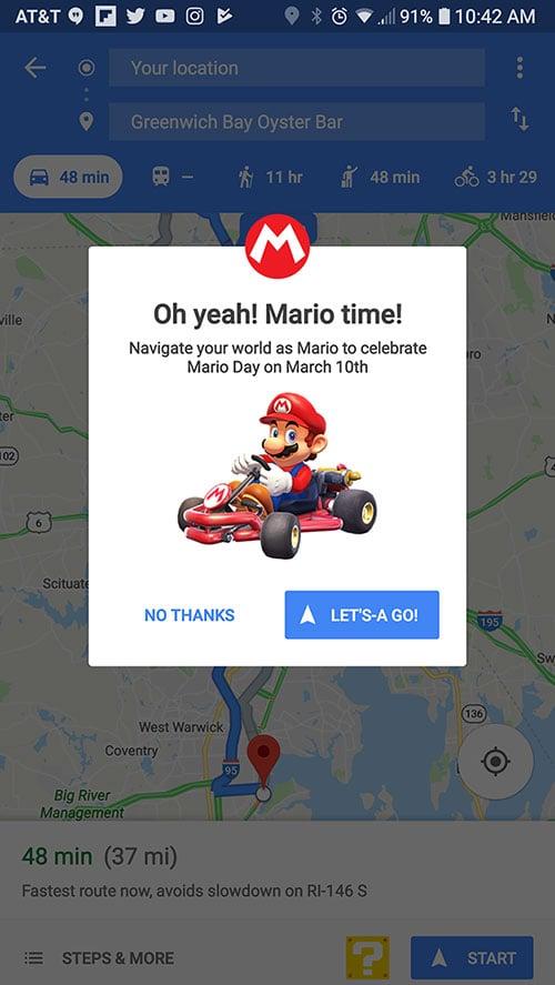 Super Mario Kart Guidance On Google Maps