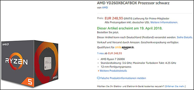 AMD Ryzen 5 2600X Amazon Listing