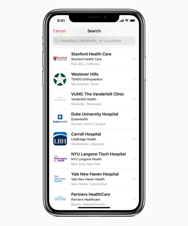 iOS 11 3 health providers search