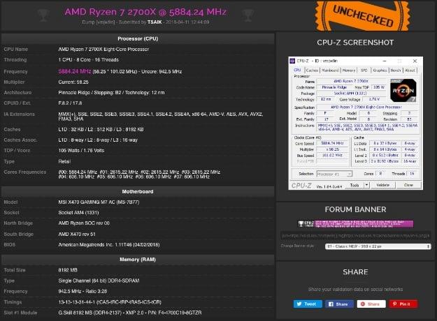 ryzen 7 2700X CPUZ