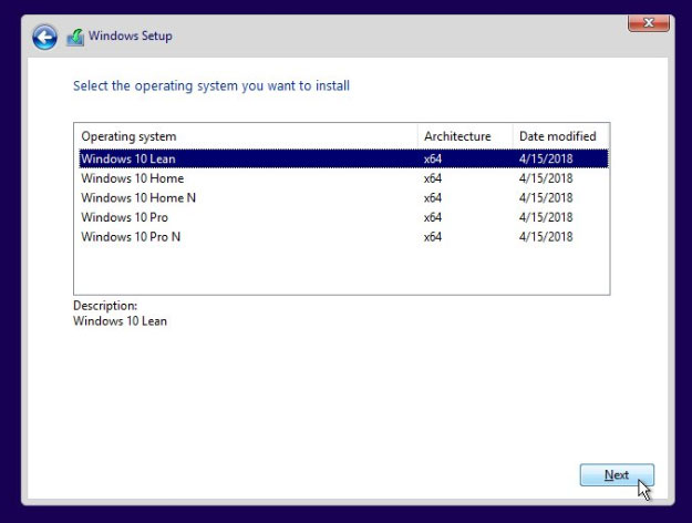 Windows 10 Lean Installation SKU