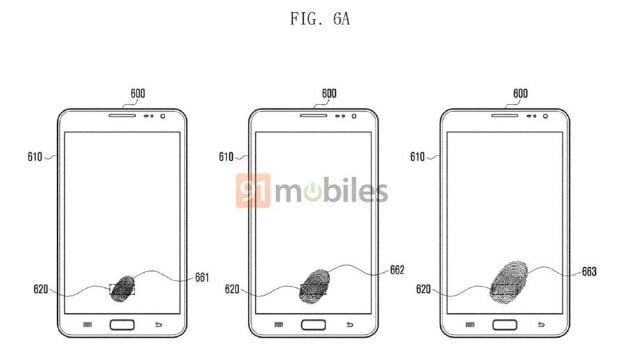Samsung fingerprint display patent