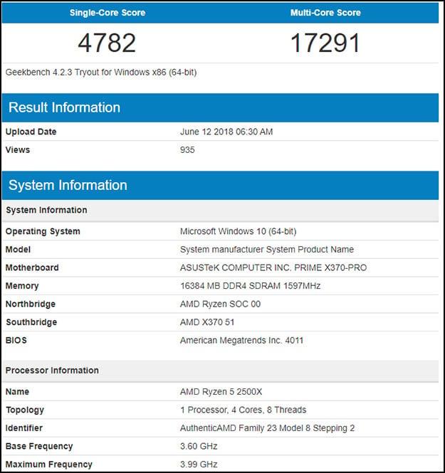 Ryzen 5 2500X Geekbench