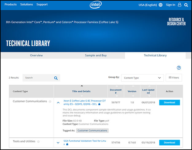 Intel Product Listing