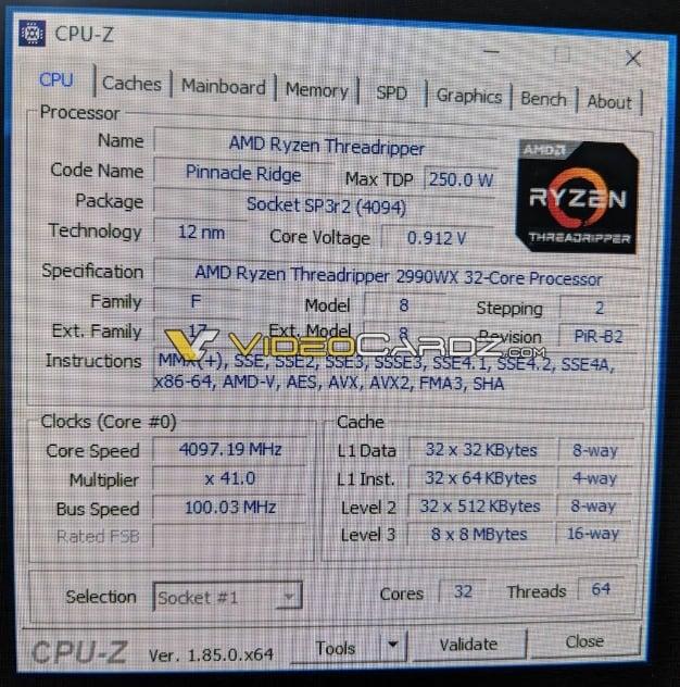 threadripper 2990WX CPUZ