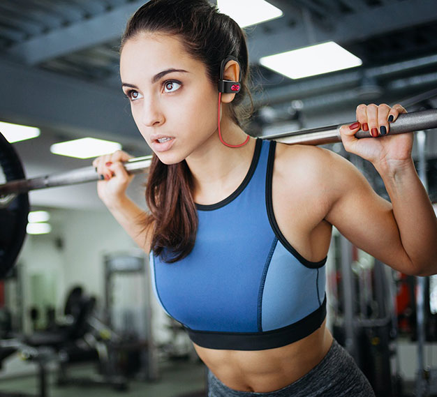 MPow Wireless Earbuds On Female Training