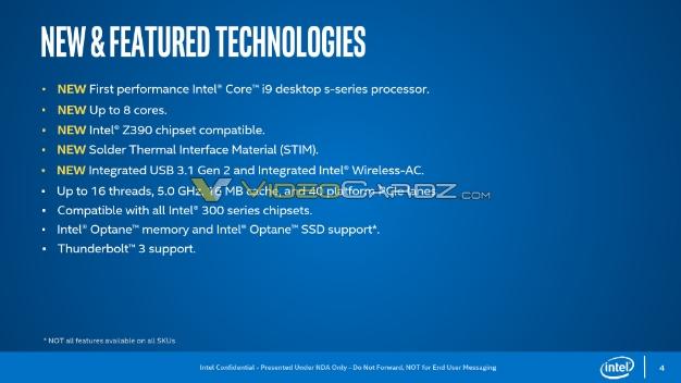 Intel 9th Gen Core 9000 Series Coffee Lake Specs Confirmed