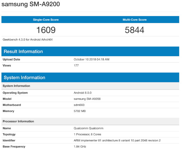 geekbench galaxy a9